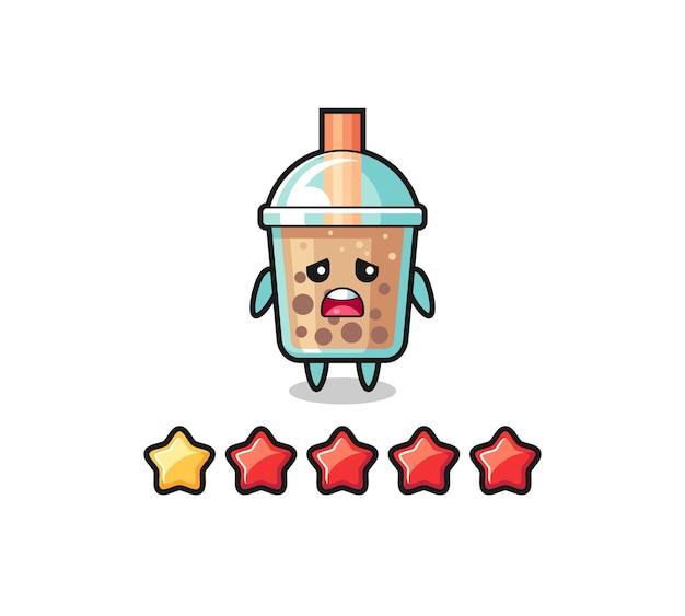 Die illustration der schlechten kundenbewertung, bubble tea süßer charakter mit 1 stern, süßes design für t-shirt, aufkleber, logo-element