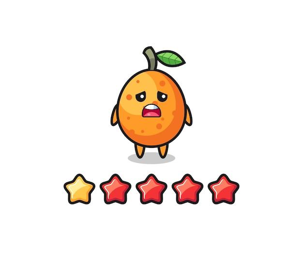 Die illustration der schlechten kundenbewertung, der niedliche kumquat-charakter mit 1 stern, das niedliche design für t-shirts, aufkleber, logo-elemente