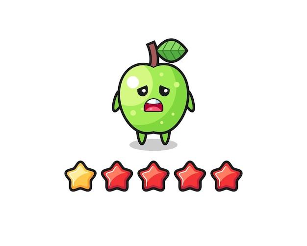 Die illustration der schlechten kundenbewertung, grüner apfel süßer charakter mit 1 stern, süßes design für t-shirt, aufkleber, logo-element