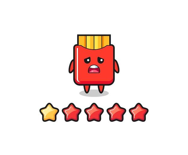 Die illustration der schlechten kundenbewertung, pommes frites süßer charakter mit 1 stern, süßes design für t-shirt, aufkleber, logo-element