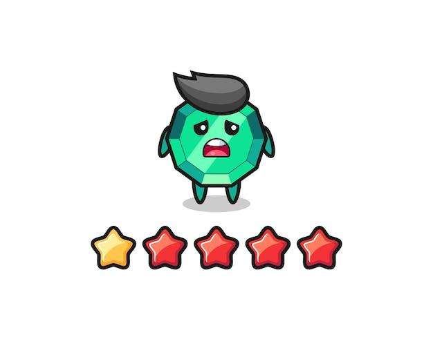 Die illustration der schlechten kundenbewertung, smaragd-edelstein-süßer charakter mit 1 stern, süßes design für t-shirt, aufkleber, logo-element