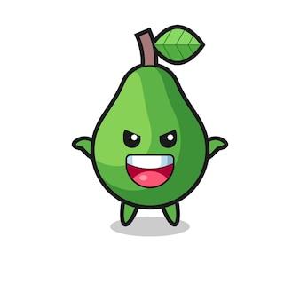 Die illustration der süßen avocado, die angstgeste macht, süßes stildesign für t-shirt, aufkleber, logo-element