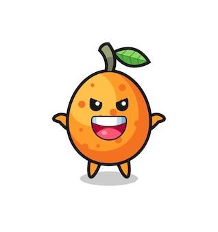 Die illustration der süßen kumquat, die angstgeste macht, süßes stildesign für t-shirt, aufkleber, logo-element