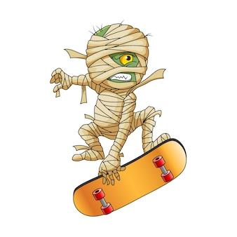 Die illustration der zombie-mumie mit dem gelben auge, das das gelbe skatebrett für die logo-inspiration spielt