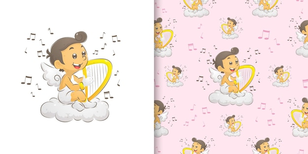 Die illustration des amors, der im paradies sitzt und harfe spielt