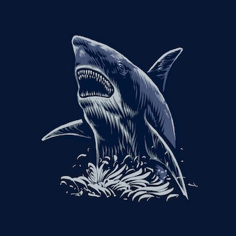 Die illustration des angriffs des blauen hais