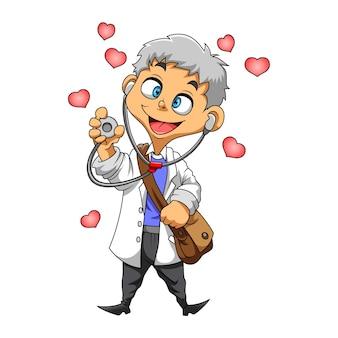 Die illustration des arztes mit weißer suite und halten des stethoskops mit der liebe um ihn herum