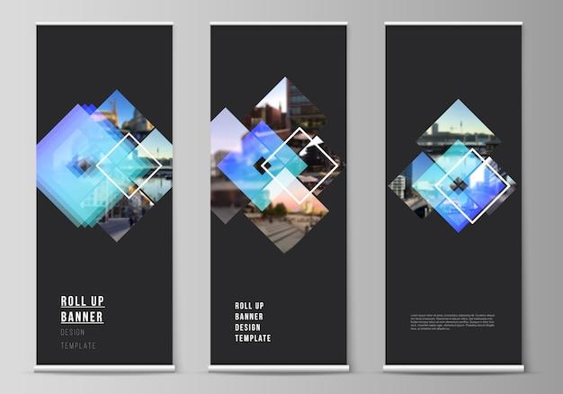 Die illustration des bearbeitbaren layouts von roll-up-bannerständern, vertikalen flyern und flaggen entwerfen geschäftsvorlagen. kreative modelle im trendigen stil, trendige designhintergründe in blauer farbe.