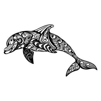 Die illustration des delfins mit der abstrakten kunst des zentangles als zeicheninspiration