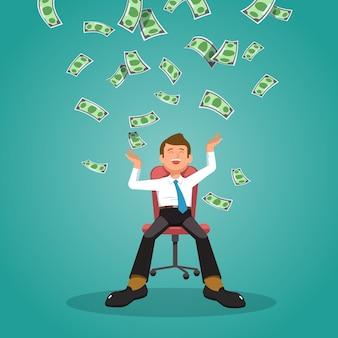 Die illustration des glücklichen geschäftsmannes feiert erfolg unter fallenden geldregenbanknoten Premium Vektoren