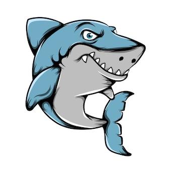 Die illustration des großen hais mit den scharfen zähnen, die mit seinen blauen augen posieren