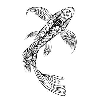 Die illustration des großen koi-fisches mit dem schönen schwanz und körper voller zentangle-doddle-kunst