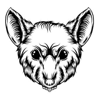Die illustration des großen schrumpftattoos mit den scharfen zähnen