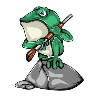 Die illustration des grünen frosches des soldaten, der die schießwaffe hält und auf dem großen stein steht