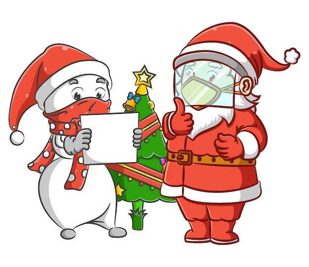 Die illustration des herrn schneemann und der santa klausel steht in der nähe des weihnachtsbaumes, um gemeinsam weihnachten zu feiern
