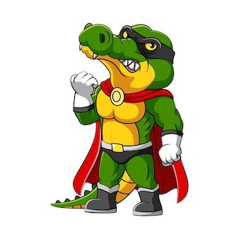 Die illustration des krokodils mit dem superheldenkostüm und der schwarzen maske