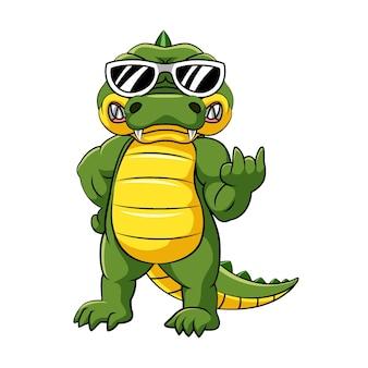 Die illustration des krokodils mit guter pose unter verwendung einer schwarzen brille