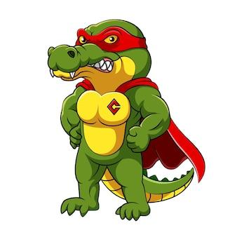 Die illustration des krokodils mit muskulösem körper, der rotes superheldenkostüm trägt