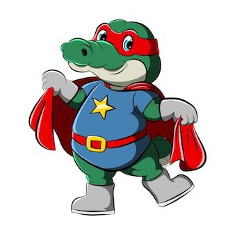 Die illustration des krokodils mit superhelden, die den roten umhang halten