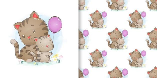 Die illustration des mustersatzkätzchens, das luftballons mit großer katze spielt