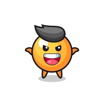Die illustration des niedlichen ping-pong-balls, der angstgeste macht, niedliches design für t-shirts, aufkleber, logo-elemente