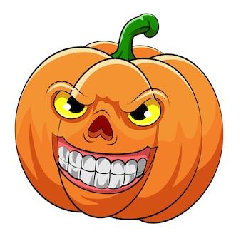Die illustration des orangefarbenen kürbises mit großem lächeln und gelben augen für das halloween