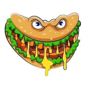 Die illustration des rindfleisch-burrito-monsters mit dem gemüse und dem gelben senf für das maskottchen des restaurants