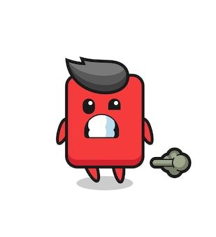 Die illustration des roten karten-cartoon, der furz macht, niedliches design für t-shirt, aufkleber, logo-element
