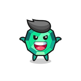 Die illustration des süßen smaragd-edelsteins, der angstgeste macht, süßes stildesign für t-shirt, aufkleber, logo-element