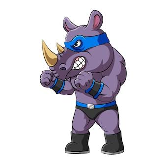 Die illustration des super-nashorns mit boxhaltung und blauer maske