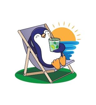 Die illustration des tieres für sommerzeitentwürfe. pinguin nimmt ein sonnenbad am strand in der nähe der sonne und trinkt einen cocktail