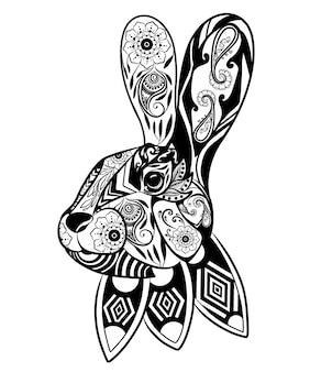 Die illustration des zentangles für die kunst des kaninchenkopfes mit schöner verzierung