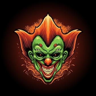 Die illustration des zombie-clown-kopfes