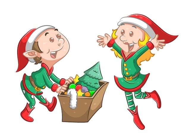 Die illustration des zwillingselfen benutzt das grüne weihnachtskostüm und hält eine schachtel mit der christbaumschmuck