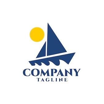Die illustration einer yacht eignet sich für logos mit bezug zur schifffahrtsindustrie