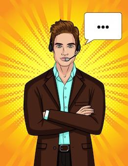 Die illustration eines mannes in anzug und kopfhörer führt ein online-gespräch.