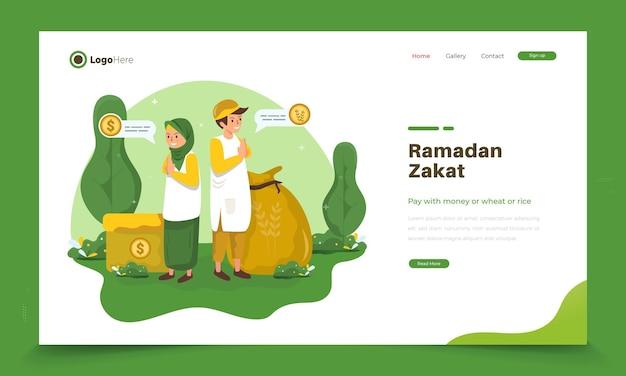 Die illustration eines muslimischen kindes erinnert uns daran, zakat im ramadan zu bezahlen