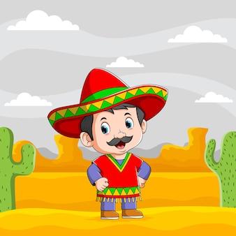 Die illustration von mexikanischen männern, die in der wüste stehen, verwenden den roten sombrero
