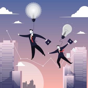 Die illustration von zwei geschäftsmännern, die auf drahtseil gehen, mögen funambulist