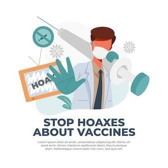 Die illustration zum stoppen von impfbezogenen hoaxes