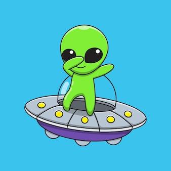 Die illustrationsgrafik des außerirdischen cartoons reitet auf einer fliegenden untertasse