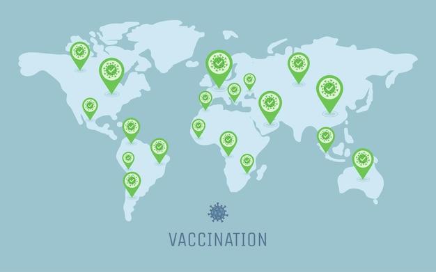 Die impfung gegen covid-19 verbreitet sich auf der ganzen welt