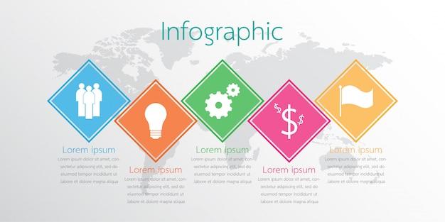Die infografik-details für den bericht. 5 thema.