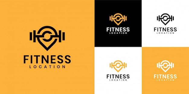 Die inspiration für das logo besteht darin, das fitnessstudio-logo und das standort-logo zu kombinieren