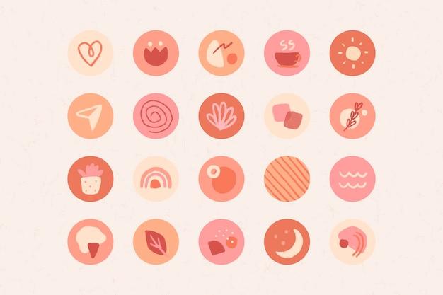 Die instagram-geschichte hebt die eingestellten symbole hervor