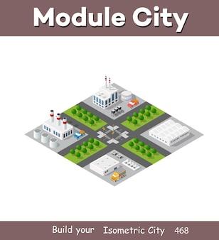 Die isometrische anlage in 3d-dimensionsprojektion umfasst fabriken, industriegebäude, kessel, lagerhäuser, hangars, kraftwerke, straßen, straßen und bäume. städtische infrastruktur der stadtmetropole.