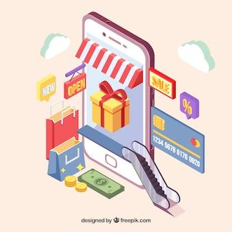 Die isometrische ansicht einer shopping-anwendung