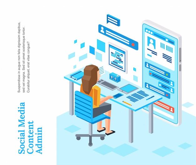 Die isometrische frauencharakterfunktion sitzt auf dem stuhl, der mit social media-ikonenillustration arbeitet