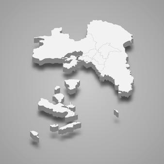 Die isometrische karte von attika ist eine region griechenlands