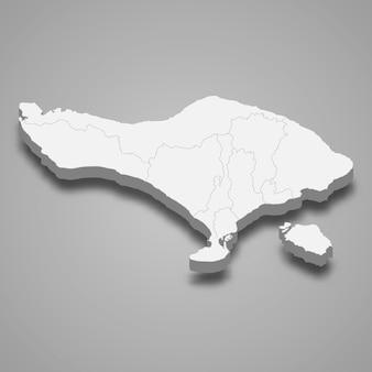 Die isometrische karte von bali ist eine provinz indonesiens